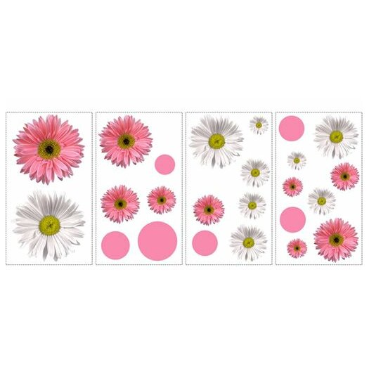 Room Mates Studio Designs 24 Piece Flower Power Wall Decal Set