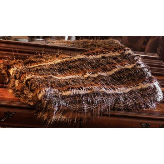Posh Pelts Red Fox Tail Faux Fur Acrylic Throw Blanket