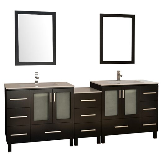 "Design Element Galatian 88"" Double Bathroom Vanity Set with Mirror"
