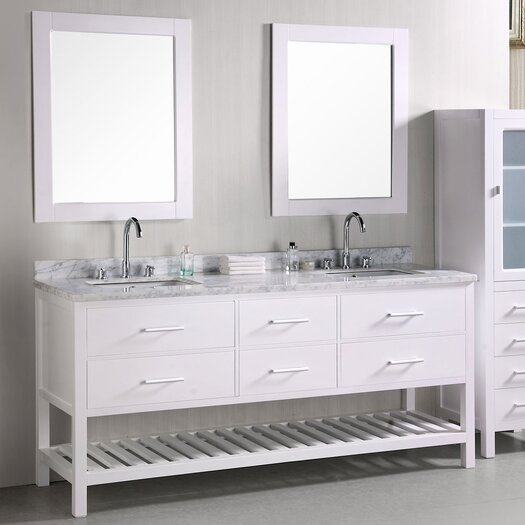 "Design Element London 72"" Double Bathroom Vanity Set with Mirror"