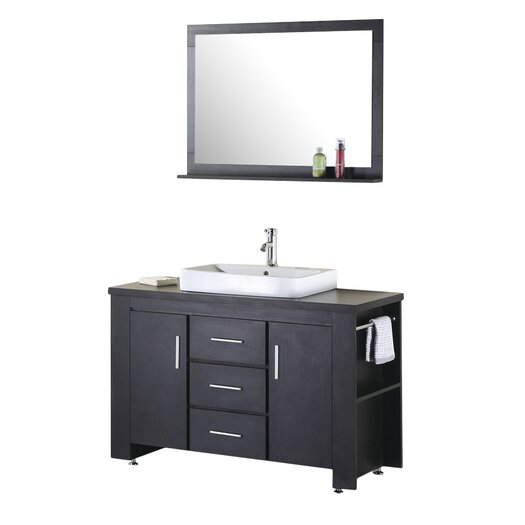 "Design Element Washington 48"" Single Bathroom Vanity Set with Mirror"