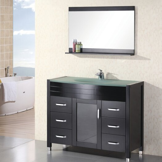 "Design Element Waterfall Cascade 47"" Single Bathroom Vanity Set with Mirror"