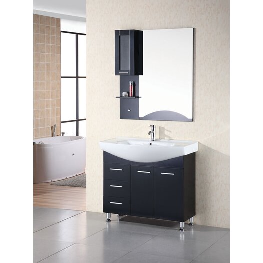 "Design Element Sierra 40"" Single Bathroom Vanity Set with Mirror"