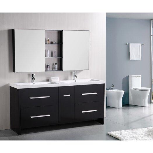 """Design Element Perfecta 72"""" Double Bathroom Vanity Set with Mirror"""