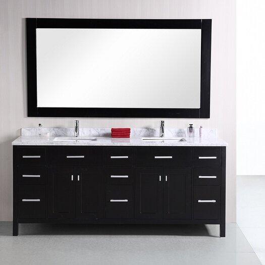"Design Element London 78"" Modern Double Bathroom Vanity Set"