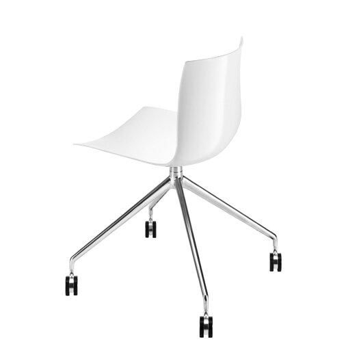 Catifa 46 Polypropylene Two-Tone Chair with 4-Way Swivel Trestle Base on Castors