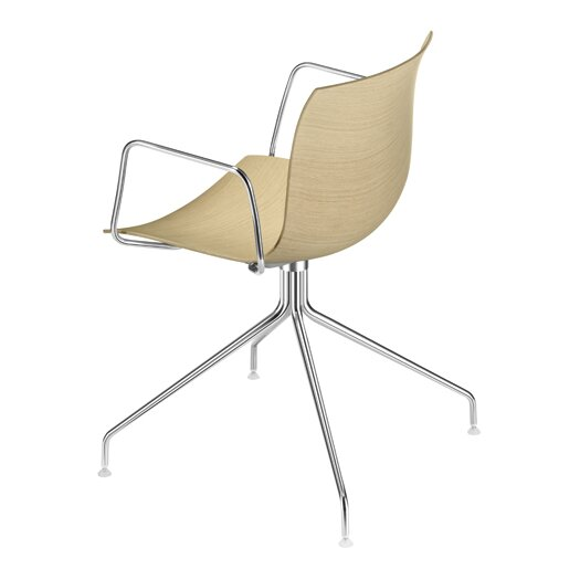 Arper Catifa 53 Wooden Armchair with 4-Way Swivel Trestle Base on Glides
