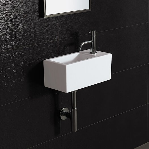 Bissonnet Area Boutique Ice 20 Porcelain Bathroom Sink with Overflow