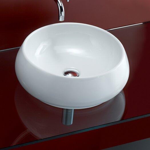 Bissonnet Area Boutique Tulip Porcelain Vessel Bathroom Sink with Overflow