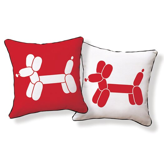 Naked Decor Doxie Red Balloon Throw Pillow