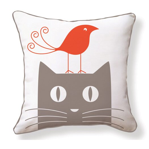 Naked Decor Cat & Bird Reversible Throw Pillow