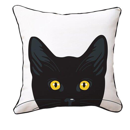 Naked Decor Yellow Eyes Cat Reversible Throw Pillow