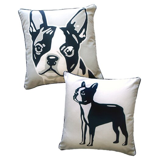 Naked Decor Doggie Style Reversible Boston Terrier Throw Pillow