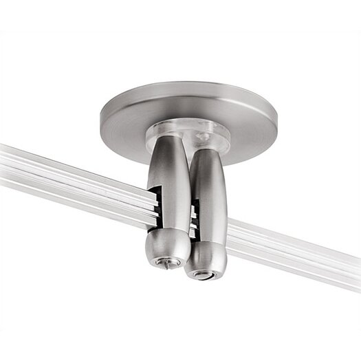 """LBL Lighting 4"""" Track Lighting Direct and Dual Feed Canopy in Satin Nickel"""