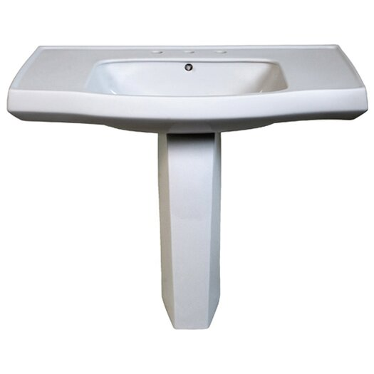 Belle Foret Contemporary Pedestal Bathroom Sink with Center