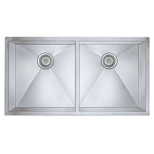 "Blanco Precision 37"" x 18"" Large Equal Double Bowl Kitchen Sink"
