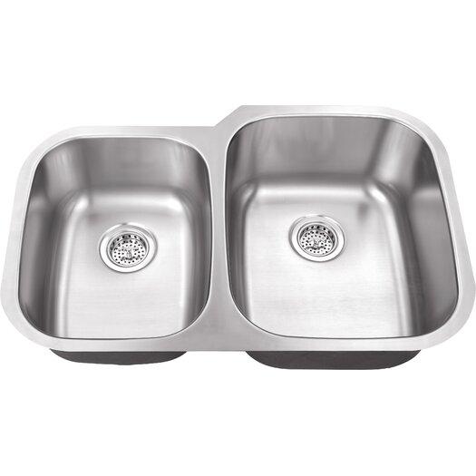 """Schon 30"""" x 18.75"""" Double Bowl 16 Gauge Kitchen Sink"""