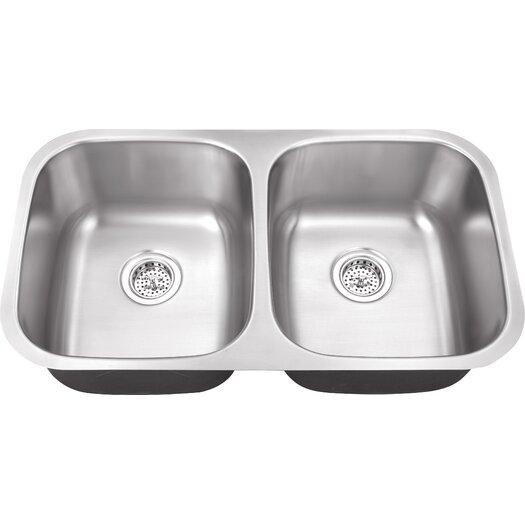 """Schon 29.5"""" x 16.5"""" Double Bowl 18 Gauge Kitchen Sink"""