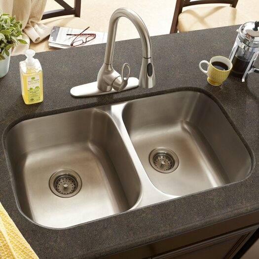 "Schon 32"" x 16.5"" Double Bowl 18 Gauge Kitchen Sink"