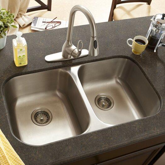 """Schon 32"""" x 16.5"""" Double Bowl 18 Gauge Kitchen Sink"""