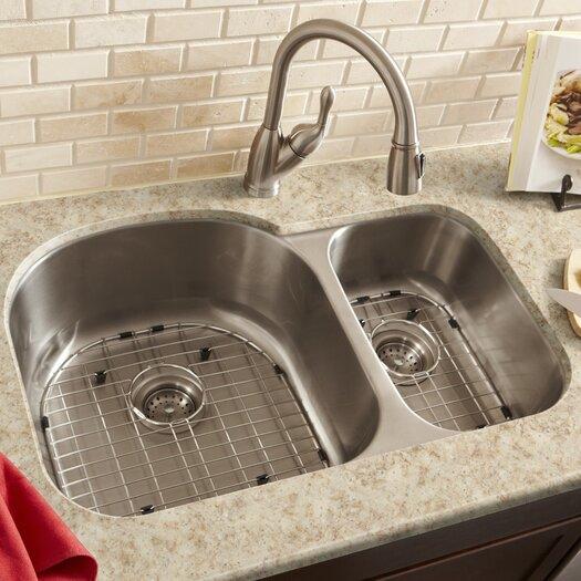 """Schon 34"""" x 23"""" Double Bowl 18 Gauge Kitchen Sink"""