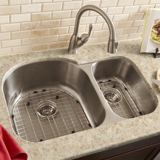 """Schon 34"""" x 23"""" Double Bowl 16 Gauge Kitchen Sink"""