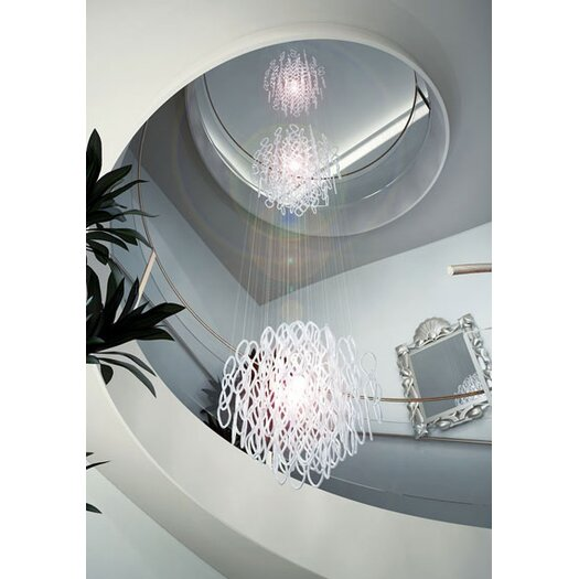 Studio Italia Design Lole 3 Light Large Triple Suspended Sphere Fixture with Hand Blown Glass