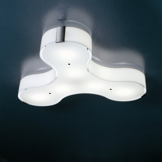 Studio Italia Design Tris Wall / Ceiling Light in Polished White Glass