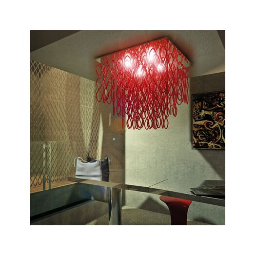 Studio Italia Design Lole 4 Light Water-Fall Ceiling Fixture with Hand Blown Glass
