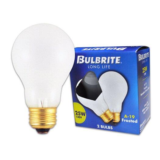 Bulbrite Industries Frosted 130-Volt (2700K) Incandescent Light Bulb (Pack of 2)