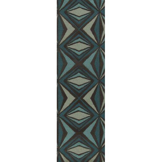 Malene b Destinations Charcoal Gray/Malachite Blue Area Rug