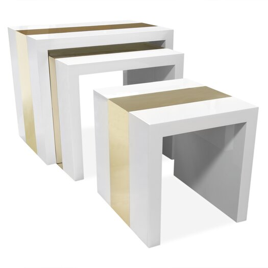 Lacquer Laminate 3 Piece Nesting Table Set