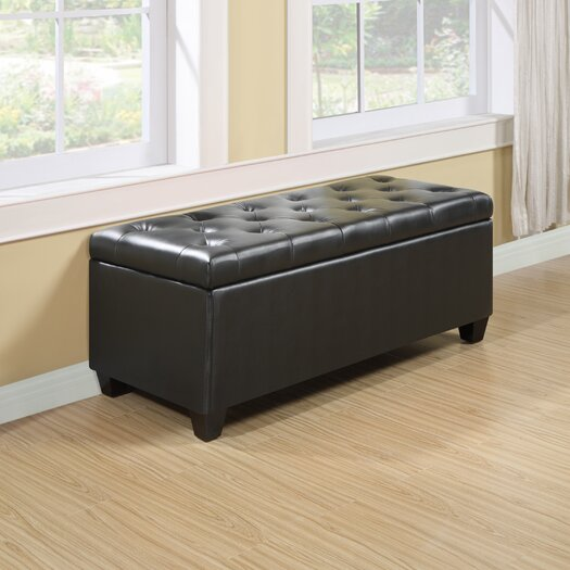 Handy Living Tufted Renu Leather Storage Ottoman