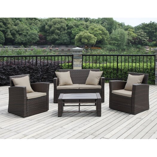 Handy Living 4 Piece Deep Seating Group with Cushions II