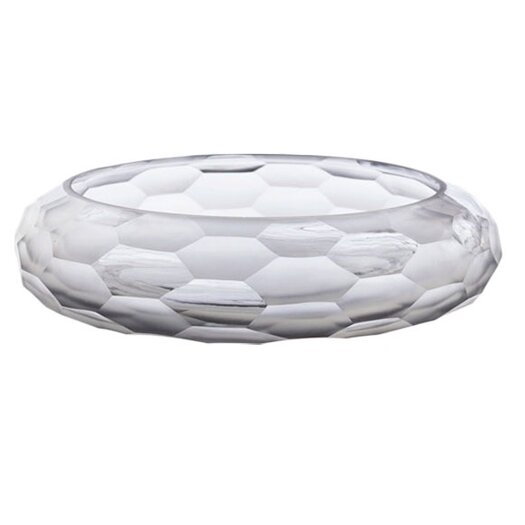 ARTERIORS Home Ice Faceted Etched / Polished Glass Bowl