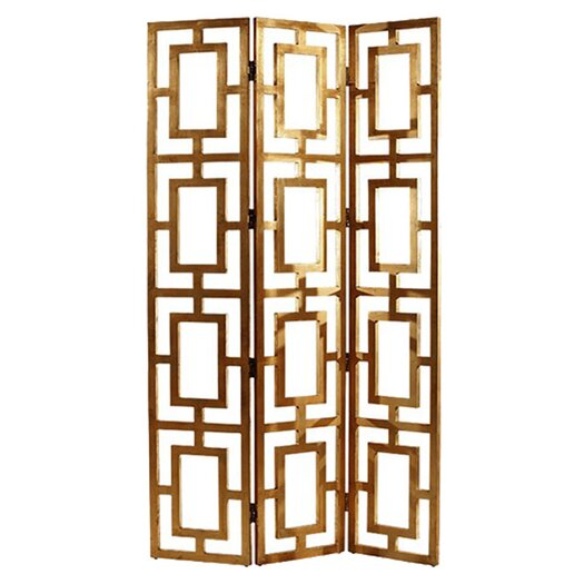 "ARTERIORS Home 80"" x 48"" Guilded Open-Work 3 Panel Room Divider"