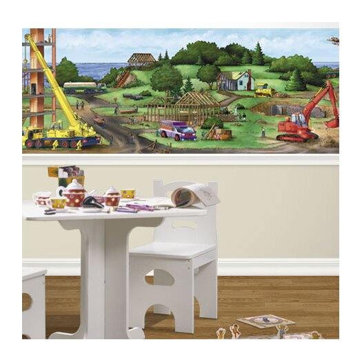 4 Walls Construction Panorama Mural Style Wallpaper Border