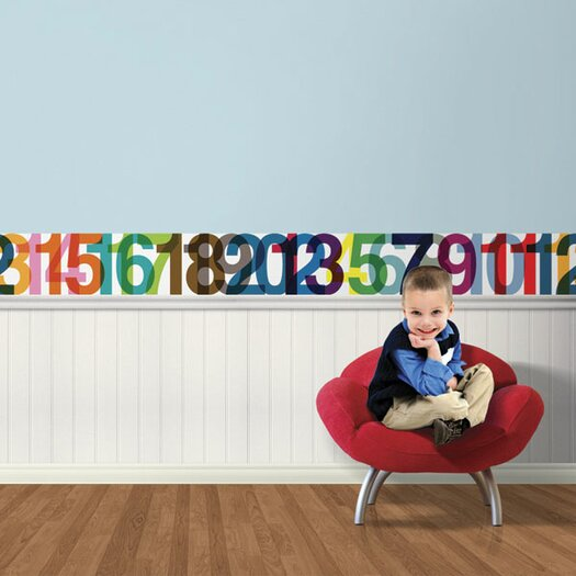 4 Walls Typeset Numbers Mural Style Wallpaper Border