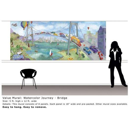 4 Walls Watercolor Journey Bridge Wall Mural