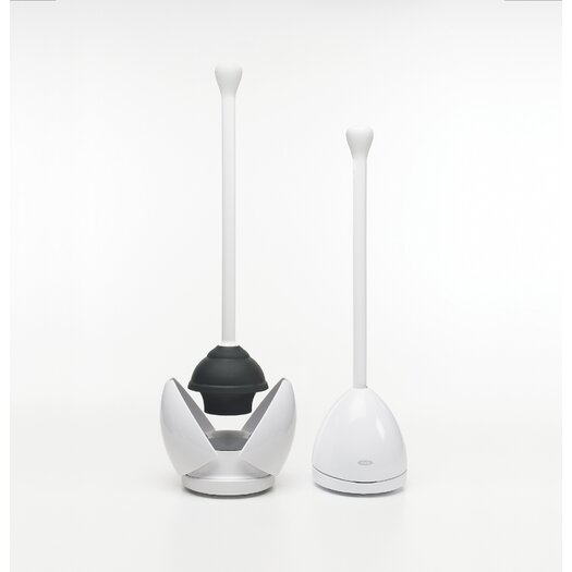 OXO Toilet Plunger & Canister in White