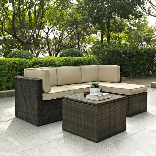 Crosley Palm Harbor 5 Piece Seating Group with Cushions