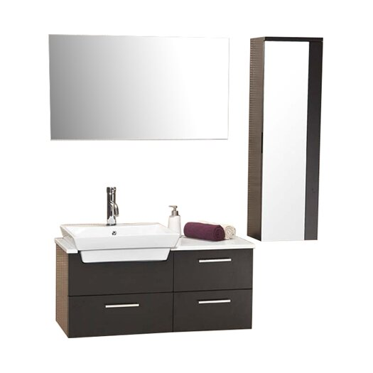 "Fresca Stella 35.5"" Caro Wood Modern Bathroom Vanity Set with Mirrored Side Cabinet"