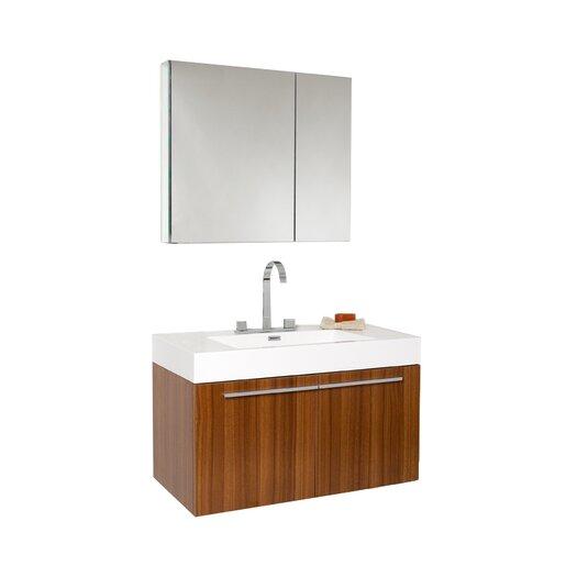 """Fresca Senza 35.5"""" Vista Modern Bathroom Vanity Set & Medicine Cabinet"""
