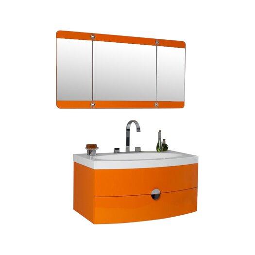 "Fresca Lucido 36"" Single Energia Modern Bathroom Vanity Set with Mirror"
