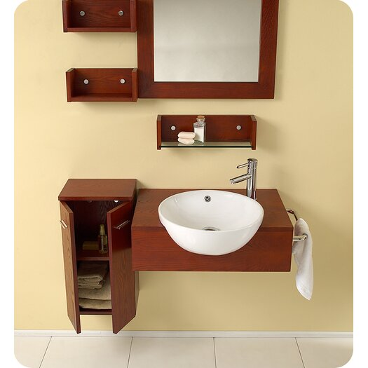 "Fresca Nero 26"" Single  StileModern Bathroom Vanity Set with Mirror"