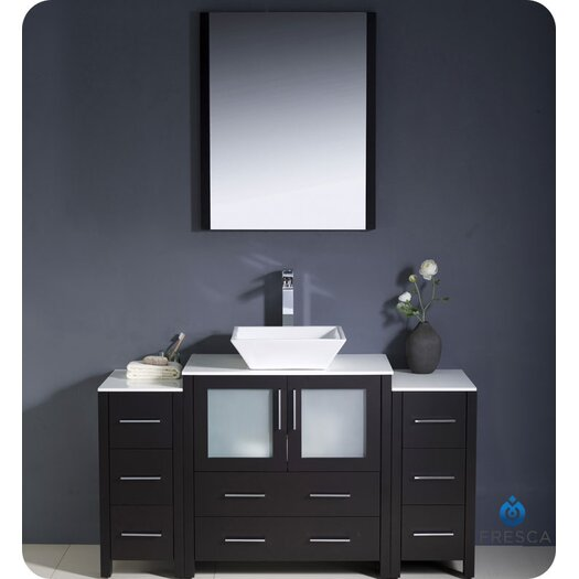 """Fresca Torino 54"""" Modern Bathroom Vanity Set with 2 Side Cabinets and Vessel Sink"""