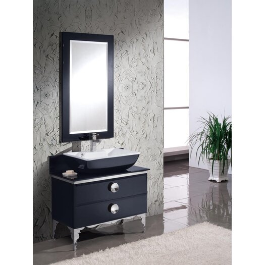 "Fresca Moselle 36"" Modern Glass Bathroom Vanity Set with Single Sink"