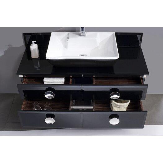 "Fresca Moselle 47"" Modern Glass Bathroom Vanity Set with Single Sink"