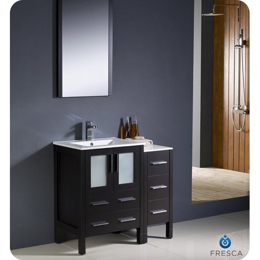 "Fresca Torino 36"" Modern Bathroom Vanity Set with Side Cabinet and Undermount Sink"