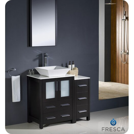"Fresca Torino 36"" Modern Bathroom Vanity Set with Side Cabinet and Vessel Sink"
